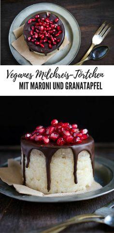 Veganes Milchreis-Törtchen mit Schokoglasur, Granatapfelkernen und Maronireis - vegan und lecker!