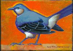 """""""Small Mockingbird"""" 5 by 7 inches acrylic on canvas"""