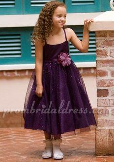 Adorable purple a-line tea Length satin flower girl dress