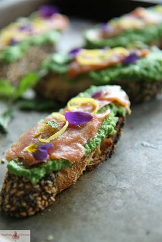Smoked Salmon, Minty Pea and Goat Cheese Crostini by Heather Christo, via Flickr