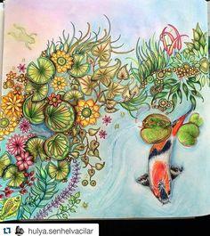 Lago de carpas super delicado by @hulya.senhelvacilar  #johannabasford #secretgarden #jardimsecre - desenhoscolorir