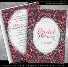 Pink Grey Damask Vin