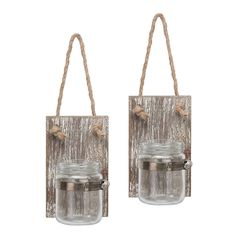 Rustic White Wash Wooden Mason Jar Wall Sconce Set with Hanging Loop