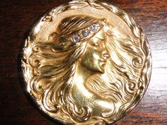 Art Nouveau Pendant 14K Gold Lady With Flowing Hair by Avujewelry