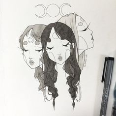 Inktober day Triple Goddess - maiden, mother, and crone 🌒🌕🌘Only a few more to go but it feels so daunting ahh someone send me strength 😩😩 Illustration Sketches, Art Sketches, Art Drawings, Pencil Drawings, Character Art, Character Design, Hipster Drawings, Grunge Art, Arte Sketchbook