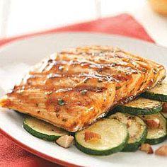 Thai Barbecued Salmon Recipe- Just 3 simple ingredients (barbecue sauce, Thai chili sauce & fresh cilantro). Goes GREAT with Almond-Topped Zucchini!