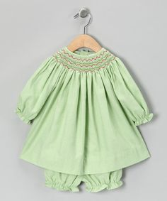 Take a look at this Lime Gingham Bishop Dress & Bloomers - Infant by Petit Pomme on #zulily today!
