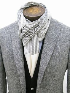 Tweed Blazer + Navy Vest + White Button Down + Striped Mixed Scarf