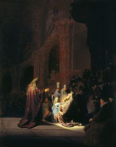 Simeon in the Temple - Rembrandt van Rijn. 1631. Oil on oak panel. 60.9 x 47.9 cm. Royal Picture Gallery Mauritshuis, The Hague, Netherlands.