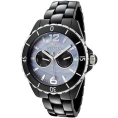 Men's Wrist Watches - Invicta Mens 0307 Blue MotherOfPearl Black Ceramic Watch -- You can get additional details at the image link. (This is an Amazon affiliate link)