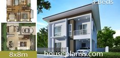 House design Plans with 3 bedroomsThe House has:Building size (m X m) : x size (Sq.m) : size (Square wah) : 36 Simple House Design, Bedroom House Plans, Home Design Plans, House Prices, Bedrooms, Layout, Exterior, How To Plan, Mansions