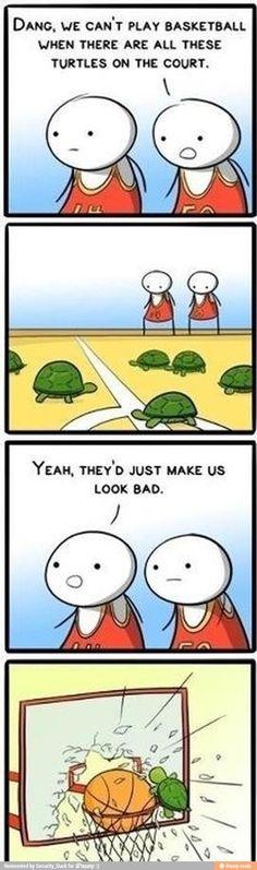 Turtle r good at basketball