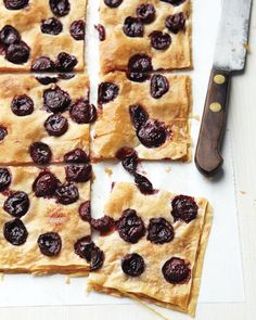 Sweet cherries dot light, flaky phyllo dough dusted with sugar and cinnamon in this virtuous dessert.