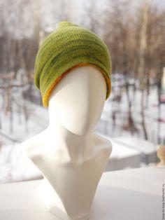 Купить Вязаная шапка. Двусторонняя шапка. Двухцветная шапка. - комбинированный, желтый, зеленый, шапка