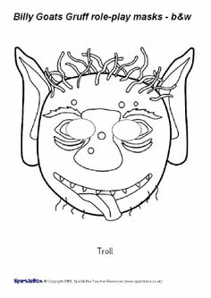 FREE Gingerbread Man role-play masks in black & white from