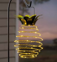 Hanging Solar Lantern Decoration, Pineapple | Solar Accents