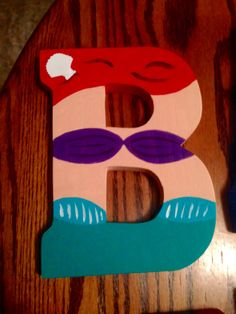 """Princess Ariel from The Little Mermaid """"B"""" Disney letter art. Mountable wooden letter. Customize your character and letter when you order on etsy! Shop DisneyByTheLetter!"""