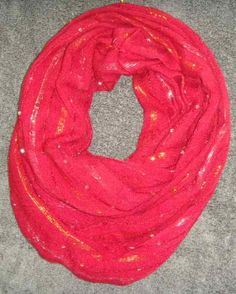 Red sparkle Infinity Scarf women's scarf cowl by LaurieEmporium