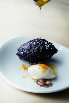 Baked Chocolate Ganache with Spicy Hazelnuts and Orange Oil from Nopi Yotam Ottolenghi Shares 3 Fall Recipes Photos Yotam Ottolenghi, Ottolenghi Recipes, Chocolate Ganache, Chocolate Desserts, Chocolate Orange, Fudge, Just Desserts, Dessert Recipes, Desserts Valentinstag