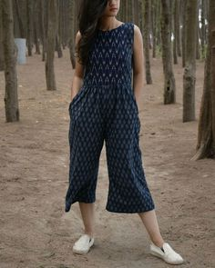 Blue and white handwoven ikat jumpsuit by threeness the secret label Kurti Designs Party Wear, Kurta Designs, Blouse Designs, Girls Fashion Clothes, Fashion Outfits, Casual Indian Fashion, Casual Frocks, Frock For Women, Frock Fashion