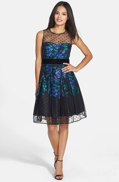 Eliza J Illusion Dot Charmeuse Fit & Flare Dress | Nordstrom