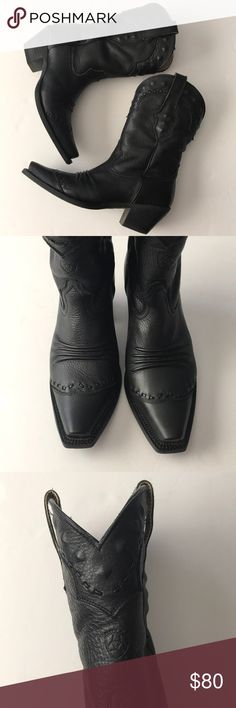 Ariat ATS Snip Toe Dixie Black Leather Cowboy Boot The softest leather, quality cowboy/western boots. Beautiful details as seen in photos. Excellent condition. Perfect pair of dancing shoes! Style # 10001367 (2185). Size 7 1/2B Ariat Shoes Heeled Boots