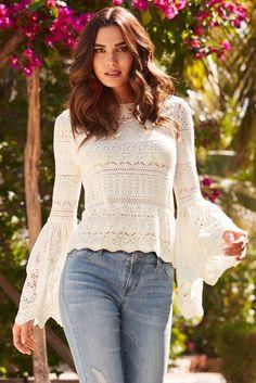 Crochet Lace Bell-sleeve Sweater | Beyond Proper