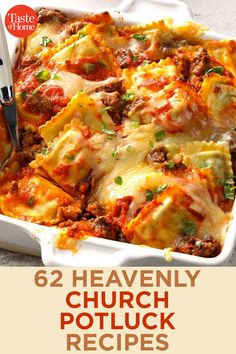 62 Heavenly Church Potluck Recipes 62 Heavenly Church Potluck Recipes Put your heart and soul into feeding your church family with these praiseworthy potluck recipes for breakfasts, side dishes, dinners and desserts. Church Potluck Recipes, Potluck Dinner, Dinner Recipes, Potluck Lunch Ideas, Main Dish For Potluck, Potluck Meals, Easy Potluck Recipes, Food Dishes, Main Dishes