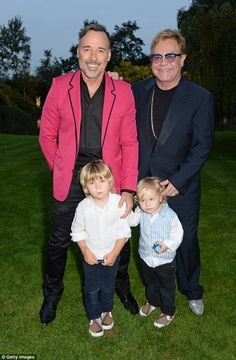 Happy families: Elton John with David Furnish and the boys last year. Sheila has never eve...
