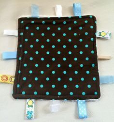 A personal favorite from my Etsy shop https://www.etsy.com/listing/268450792/polka-dot-tag-blanket