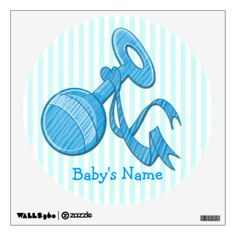 This cute Boy Baby Rattle Round Wall Decal features a light blue and white striped background that is customizable, light blue baby rattle w...