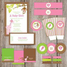 Printable Pink Safari Baby Shower  Baby Girl by sweetpopstudio, $29.00
