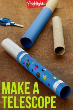 Look up in the sky! It's a bird! It's a plane! It's… yes, that's a bird. And that's a plane. When you make this telescope with your child, have fun watching for birds, planes, and other flying objects. It's an easy craft that can change your kids' perspective and help them focus on things around them in a different way. Space Crafts Preschool, Outer Space Crafts For Kids, Planets Preschool, Space Kids, Space Activities For Kids, Planets Activities, Bible School Crafts, Vbs Crafts, Craft Activities
