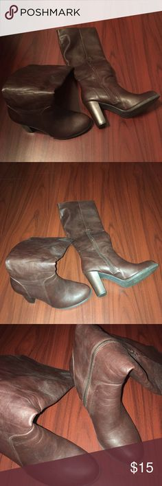 """Faux brown leather knee high, 4"""" heel boots 17"""" tall shaft faux brown leather boots with side zipper.  Perfect condition. A re-posh only because heel is a little too high for me. dexflex Shoes Heeled Boots"""