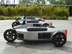 A concept three wheeled vehicle. Actually, can be considered a limited production run as three identical vehicles were constructed. Design was conceived and constructed to be made street legal on the roads of the United States. Tricycle Bike, Trike Motorcycle, Dirt Bikes For Sale, Homemade Go Kart, Reverse Trike, Auto Retro, Cargo Bike, Pedal Cars, Unique Cars