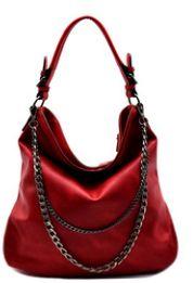 ♥ Description ♥ Faux Leather Zip Top Closure Back Zip Pocket Adjustable Shoulder Strap Detachable chain accent 14.5(L) X 10.5(H) X 5.5(W)