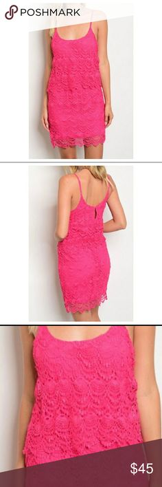 Pink crochet dress Gorgeous bright pink dress with crochet pattern. So cute for Spring! Dresses Midi