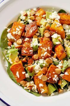 This Roast Pumpkin, Spinach and Feta Salad with Honey Balsamic Dressing is a bright and fresh antidote to bland and boring salads. It's great as a meal on its own or paired with some tasty barbecued meat as the perfect side dish. Pumpkin And Feta Salad, Spinach And Feta, Roast Pumpkin Salad, Healthy Mummy Recipes, Vegetarian Recipes, Cooking Recipes, Vegetable Dishes, Vegetable Recipes, Feta Salat