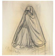 Doliente. Carboncillo. 1930. 47,6 x 44,6 cm. Artista: Ernst Barlach.
