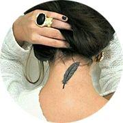 Feather Tattoo Design: Behind Neck Under Hair