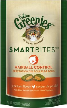 $1.94 Treat and bond with your cat while providing essential health benefits! Greenies Feline SmartBites Hairball Control Cat Treats are not indulgent, empty calories. They're delicious, dual-textured treats that contain natural ingredients and a Fiberblend formula of plant-based fibers to help minimize hairball