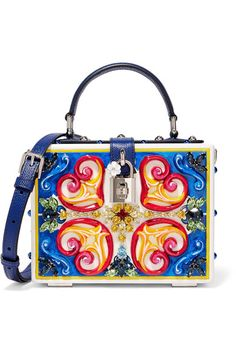 Multicolored wood, royal-blue textured-leather (Calf) Twist lock-fastening tab at top Comes with dust bag Made in Italy