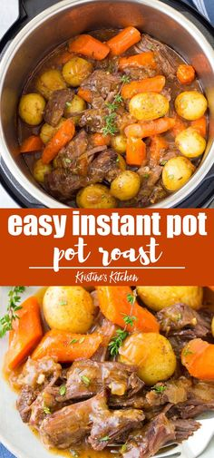 The BEST Instant Pot Pot Roast with potatoes, carrots and a flavorful gravy. The beef is melt in your mouth tender! This simple pot roast recipe is so easy to make in your pressure cooker, and is ready much quicker than cooking a roast on the stove Beef Recipe Instant Pot, Instant Pot Pot Roast, Instant Pot Dinner Recipes, Instant Recipes, Recipes Dinner, Instant Pot Chinese Recipes, Dinner Ideas, Dessert Recipes, Desserts