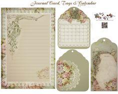 Vintage styled journal card, calendar & tags