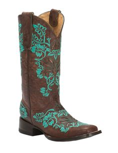 Cavender's by Old Gringo Women's Georgina Brass Goat with Turquoise Embroidery Square Toe Western Boots | Cavender's