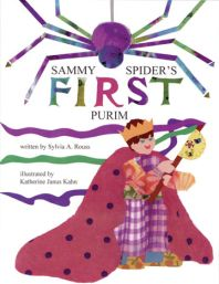 """Written by: Sylvia Rouss  Illustrated by: Katherine Kahn  Synopsis:  The Shapiro family is getting ready for the exciting holiday of Purim. Young Josh is making a grogger (noisemaker) to take to a celebration at the synagogue. Sammy Spider wants to join in the fun, but his mother reminds him, """"Spiders don't celebrate holidays; spiders spin webs."""" Sammy can't help himself and gets caught in Josh's grogger. Will Sammy escape and get home to his mother?"""