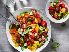 Tomato, Cucumber, and Basil Salad   Brandon Boudet, chef at Little Dom's, in Los Angeles, serves this salad in late summer and fall. You can cut up the vegetables a little ahead of time, but dress them fairly close to serving or they'll get soupy.