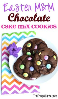 Easter M& Chocolate Cake Mix Cookies Recipe! ~ from TheFrugalG ~ these 4 ingredient cookies couldn't be easier and they're SO yummy! Easter Cookie Recipes, Easy Easter Recipes, Cake Mix Cookie Recipes, Easter Cookies, Easter Treats, Summer Cookies, Cookie Favors, Baby Cookies, Heart Cookies