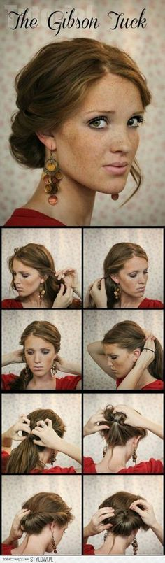The Gibson Tuck – DIY Step By Step Hair Tutorial A quick and easy holiday undo. Would have to make it looser for curls. The Gibson Tuck – DIY Step By Step Hair Tutorial - I like the earrings too Gibson Tuck, Updo Hairstyles Tutorials, Pretty Hairstyles, Easy Hairstyle, Wedding Hairstyles, Hairstyles Haircuts, Ponytail Hairstyles, Long Haircuts, Office Hairstyles