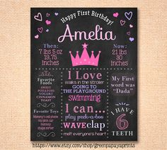 Princess theme birthday party ideas. Printable chalkboard design that includes facts about birthday girl. Great gift and keepsake for after the party!